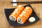 Eatable salmon sushi fresh from Japanese kitchen poster