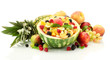 fresh fruits salad in watermelon, fruits and berries, isolated