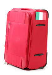 red suitcase with sticker with flag of Italy isolated on white