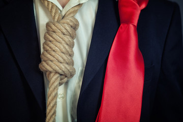 Businessman in noose