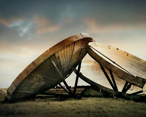 abandoned radar dishes