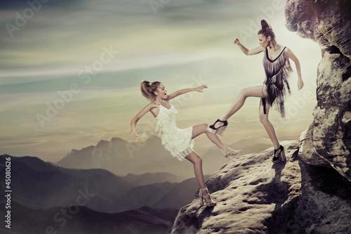 Two contending women