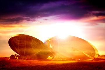 radar dishes sun flare