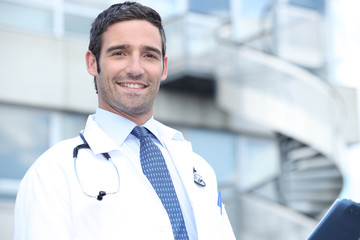 doctor in front of stairs
