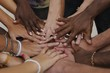 Leinwanddruck Bild - Many hands together: group of people joining hands