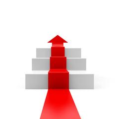 Frontaler Pfeil auf Stufen > es geht aufwärts!