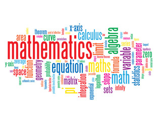 """MATHEMATICS"" Tag Cloud (science studies statistics equations)"