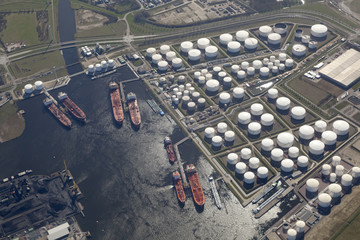 Aerial view of the harbour Rotterdam Pernis