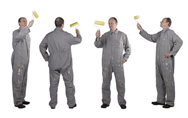 composite of Painters mans in uniform with paint roller Isolated