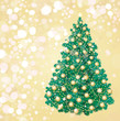 Christmas tree and decorations on golden background.