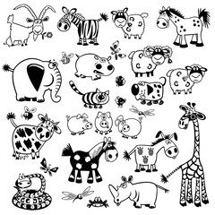 set with black and white childish animals