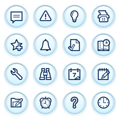 Organizer web icons on blue buttons.