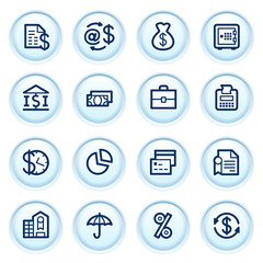 Finance icons on blue buttons.