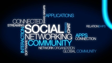 Social networking community service word tag cloud video