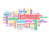 """TESTIMONIALS"" Tag Cloud (customer service satisfaction reviews)"