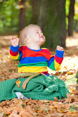 kind freude im herbst