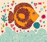Vector illustration with fish