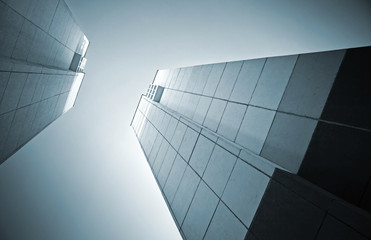 Abstract architecture monochrome background with two tall concre