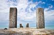 Old concrete pier with columns on Black Sea coast