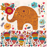 Beautiful vector card with flowers and elephant