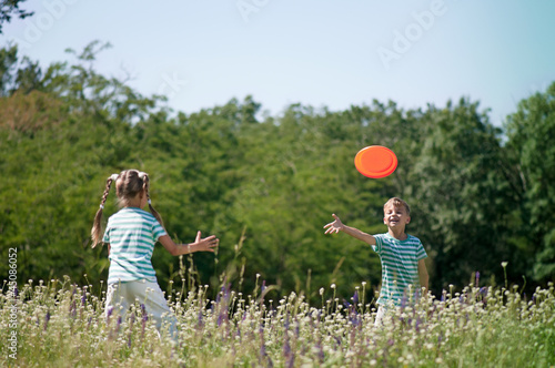 Children playing frisbee