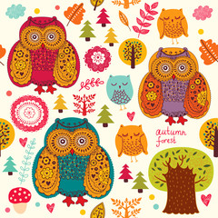 Vector seamless pattern with owls and trees
