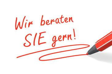 Stift- & Schriftserie: Wir beraten SIE gern! rot