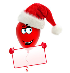 Funny christmas balloon with hat. Holding frame.