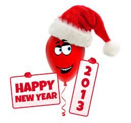 Funny christmas balloon with hat. Happy new year 2013