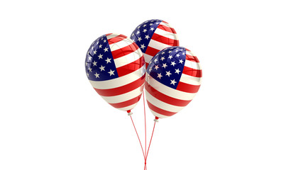 Shiny Patriotic US balloons with American flag design