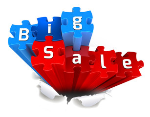 exclusive BIG SALE puzzle and torn paper