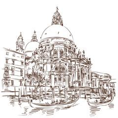 Venice - Cathedral of Santa Maria della Salute - vector sketch