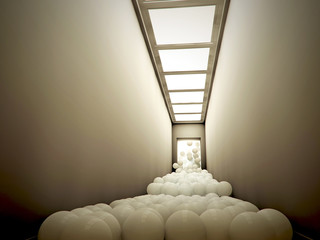 hallway with white balls running