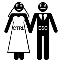 Bride groom CTRL ESC icon vector