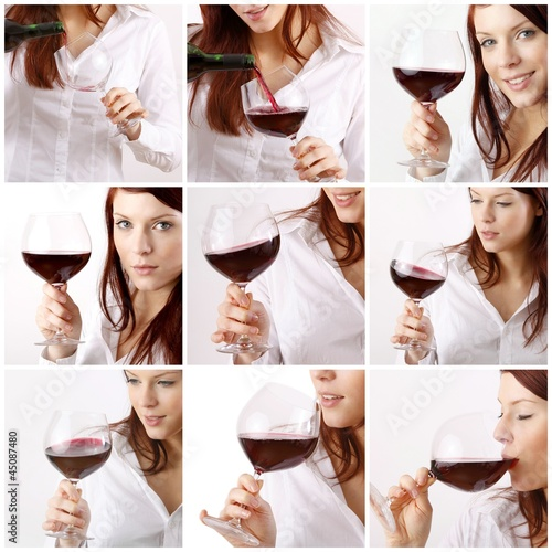 collage - set of young woman enjoying wine