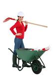 Woman construction worker, studio shot