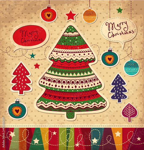 Vintage Christmas vector card with tree