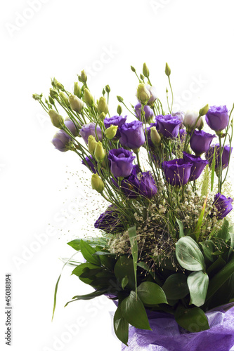 Bouquet of purple flowers isolated in white