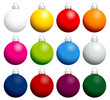 12 Colorful Christmas Balls Uni Silver