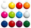 12 Colorful Christmas Balls Uni Silver