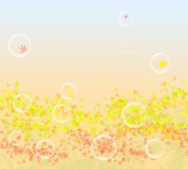 紅葉と水玉の背景イラスト