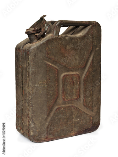 Vintage army fuel jerrycan isolated on white