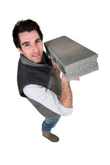 Cement block craftsman in the hands