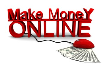 Make Money Online with mouuse, 3d render of dollar