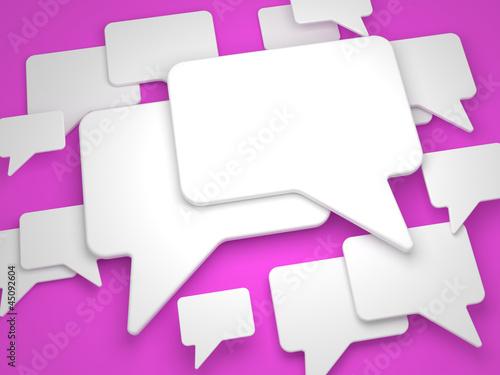 Blank Speech Bubble on Lilac Background.