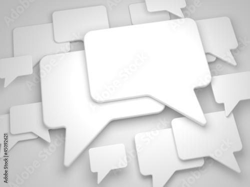 Blank Speech Bubble on Grey Background.