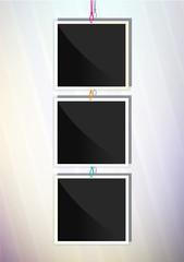 Three square frames. Vertical illustration.