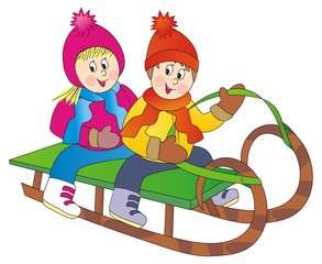 children on sled