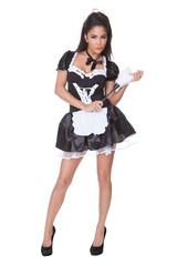 Sensual woman in skimpy maids uniform