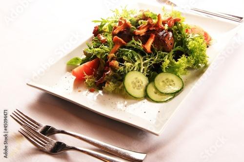 steak mit salat garniert mit pfifferlingen von magda fischer lizenzfreies foto 45094471 auf. Black Bedroom Furniture Sets. Home Design Ideas